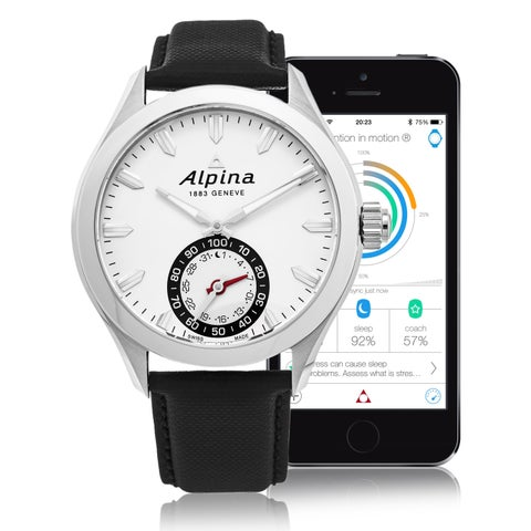 Alpina Men's 'Smart Watch' Silver Dial Black Leather Strap Multifunction Motionx® Swiss Quartz Watch