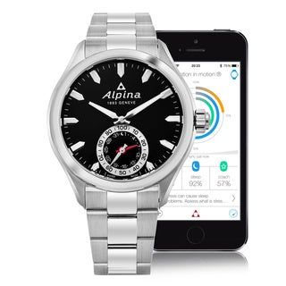 Alpina Men's AL-285BS5AQ6B 'Smart Watch' Black Dial Stainless Steel Multifunction Motionx® Swiss Quartz Watch