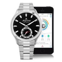 Alpina Men's  'Smart Watch' Black Dial Stainless Steel Multifunction Motionx® Swiss Quartz Watch
