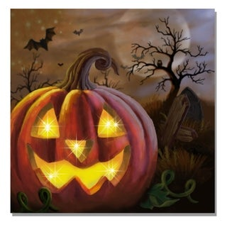 Lighted Canvas Large Pumpkin Face