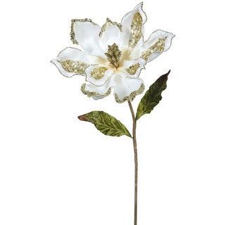 Cream Plastic 22-inch Magnolia With 9-inch Flower (Pack of 3)
