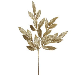22-inch Gold Glitter Bay Leaf Spray (Pack of 12)