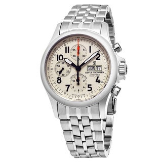 Revue Thommen Men's 'Pilot' Ivory Dial Stainless Steel Chronograph Swiss Automatic Watch