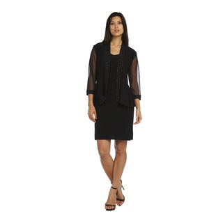 R&M Richards Black Sheer Jacket Short Dress