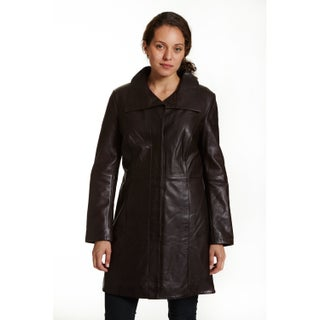 Excelled Women's Lambskin Leather Pencil Coat