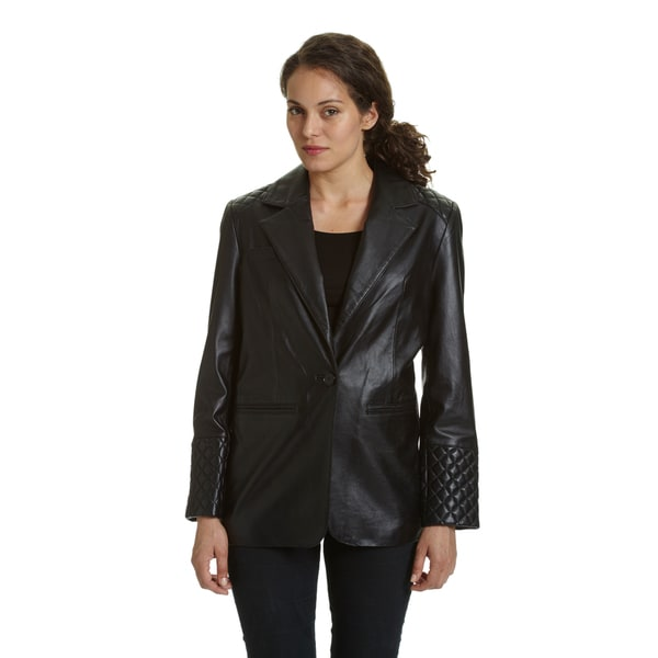 Excelled Women's 2-button Lambskin Leather Blazer