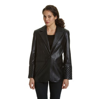 Excelled Women's 2-button Lambskin Leather Blazer