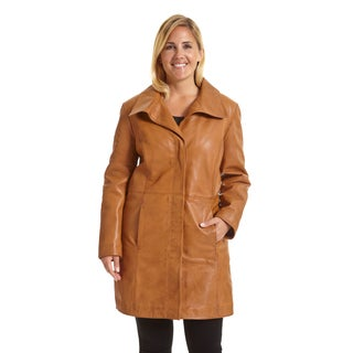 Excelled Women's Plus Size Lambskin Leather Pencil Coat