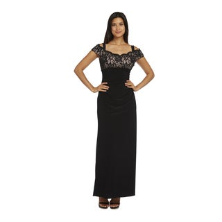 R&M Richards Black Off-the-Shoulder Lace Top Long Dress