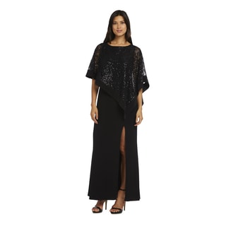 R&M Richards Black Sparkle Poncho Dress
