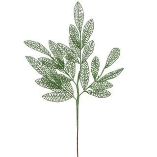 22-inch Green Glitter Mesh Bay Leaf Spray (Pack of 12)