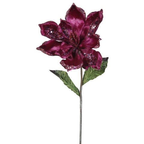 22-inch Tan Plastic Mauve Magnolia with 9-inch Flower (Pack of 3)