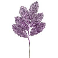 Purple Glitter 22-inch Magnolia Spray (Pack of 12)