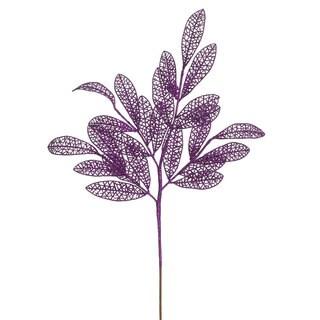 22-inch Plastic Purple Glitter Mesh Bay Leaf Spray (Case of 12)