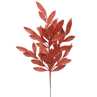 Red Glitter 22-inch Bay Leaf Spray (Pack of 6)