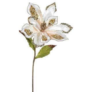 Vickerman Rose Gold 22-inch Magnolia with Flower (Pack of 3)