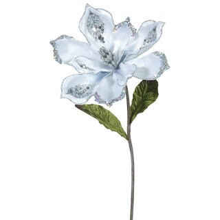 22-inch Plastic Silver Magnolia with 9-inch Flower (Pack of 3)