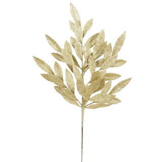 White Glitter 22-inch Bay Leaf Spray (Pack of 6)
