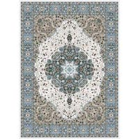 Persian Rugs Traditional Oriental Styled Blue Background Area Rug - 5'2 x 7'2