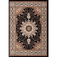 Persian Rugs Oriental Traditional Multi Colored Black Background Area Rug (5'2 x 7'2)