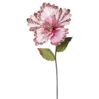 Vickerman 23-inch Pink Hibiscus with 8-inch Flower (Pack of 3)