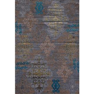 Persian Rugs Tribal Medallions Gray Multi Colored Area Rug (5'2 x 7'2)
