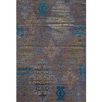 Persian Rugs Tribal Medallions Gray Multi Colored Area Rug - 5'2 x 7'2