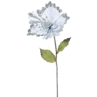Silver 8-inch Hibiscus Flower With 23-inch Stem (Pack of 3)