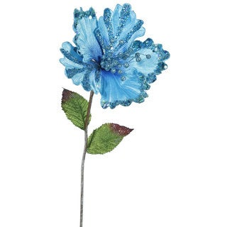 Vickerman Sky Blue 22-inch Hibiscus With 8-inch Flower (Pack of 3)