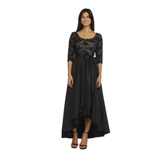 R&M Richards Lace and Taffeta 3/4 Sleeve Hi-Low Dress