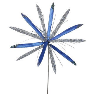 Vickerman Blue/Silver Plastic 24-inch Papyrus with 20-inch Flower (Pack of 3)