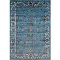 Persian Rugs Floral Oriental Multicolor Blue Background Area Rug - 5'2 x 7'2