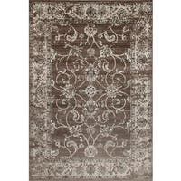 Persian Rugs Floral Oriental Multicolor Ivory Background Area Rug - 5'2 x 7'2