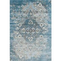 Persian Rugs Vintage Antique Designed Blue Beige Tones Area Rug - 5'2 x 7'2