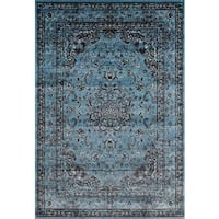 Persian Rugs Antique Styled Multi Colored Blue Base Area Rug - 5'2 x 7'2