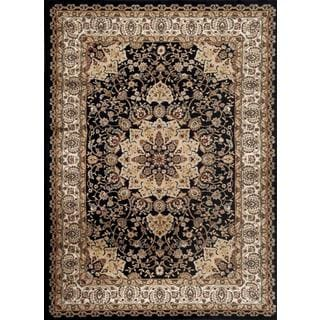 Persian Rugs Traditional Oriental Styled Black Background Area Rug (7'10 x 10'2)