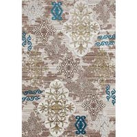 "Persian Rugs Tribal Medallions Beige Multi Colored Area Rug - 7'10"" x 10'6"""