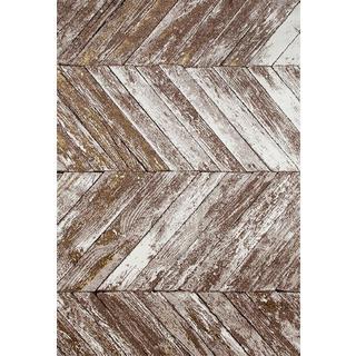 Persian Rugs Rustic Wood Floor Beige Area Rug - 7'10 x 10'6