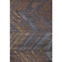 "Persian Rugs Rustic Wood Floor Gray Area Rug - Grey/Gold - 7'10"" x 10'6"""