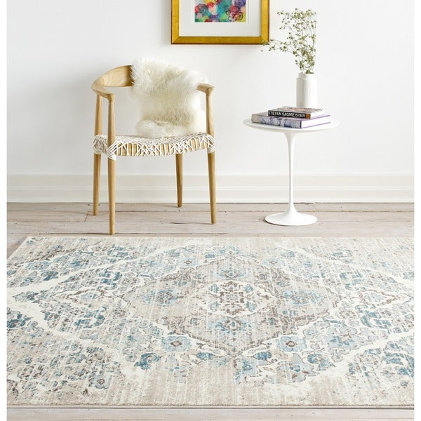 "Persian Rugs Vintage Antique Designed Cream Beige Tones Area Rug (7'10 x 10'6) - 7'10"" x 10'6"""
