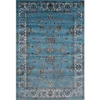 """Persian Rugs Floral Oriental Multicolor Blue Background Area Rug - 7'10"""" x 10'6"""""""
