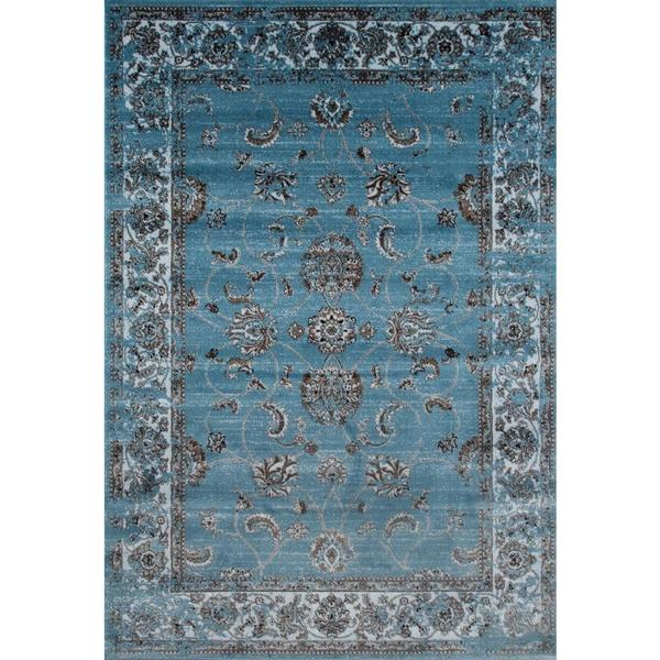 "Persian Rugs Floral Oriental Multicolor Blue Background Area Rug - 7'10"" x 10'6"""