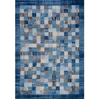 Persian Rugs Multi Colored Modern Plaid Designed Blue Based Area Rug (7'10 x 10'2)