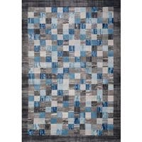 Persian Rugs Multi Colored Modern Plaid Designed Gray Based Area Rug - 2'0 x 3'0