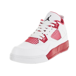 Nike Jordan Kids Jordan 4 Retro Bp White/Black/Gym Red Basketball Shoe