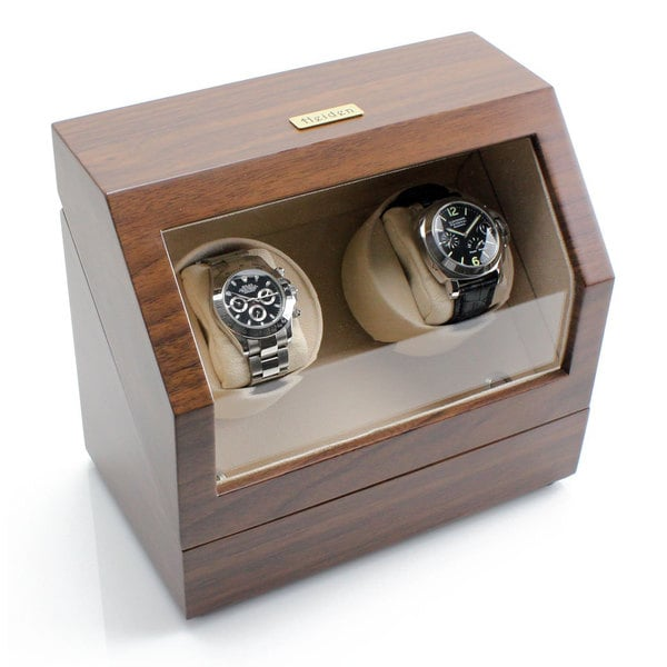 Heiden Walnut-colored Plastic Battery Powered Dual Watch Winder