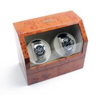 Heiden Burlwood Battery Powered Dual Watch Winder