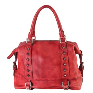 Diophy Genuine Leather Medium Tote Accented with Studded & Buckle Decor with Removable Strap 150335