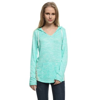Game Of Love Junior's Fashion V-Neck Knit Top Hooded with Crochet Side Seam