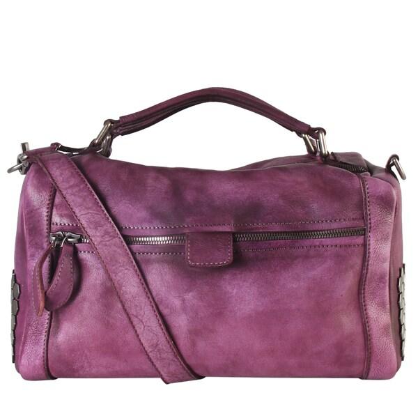 Diophy Genuine Leather Large Studded Front Zipper Pocket Speedy Bag